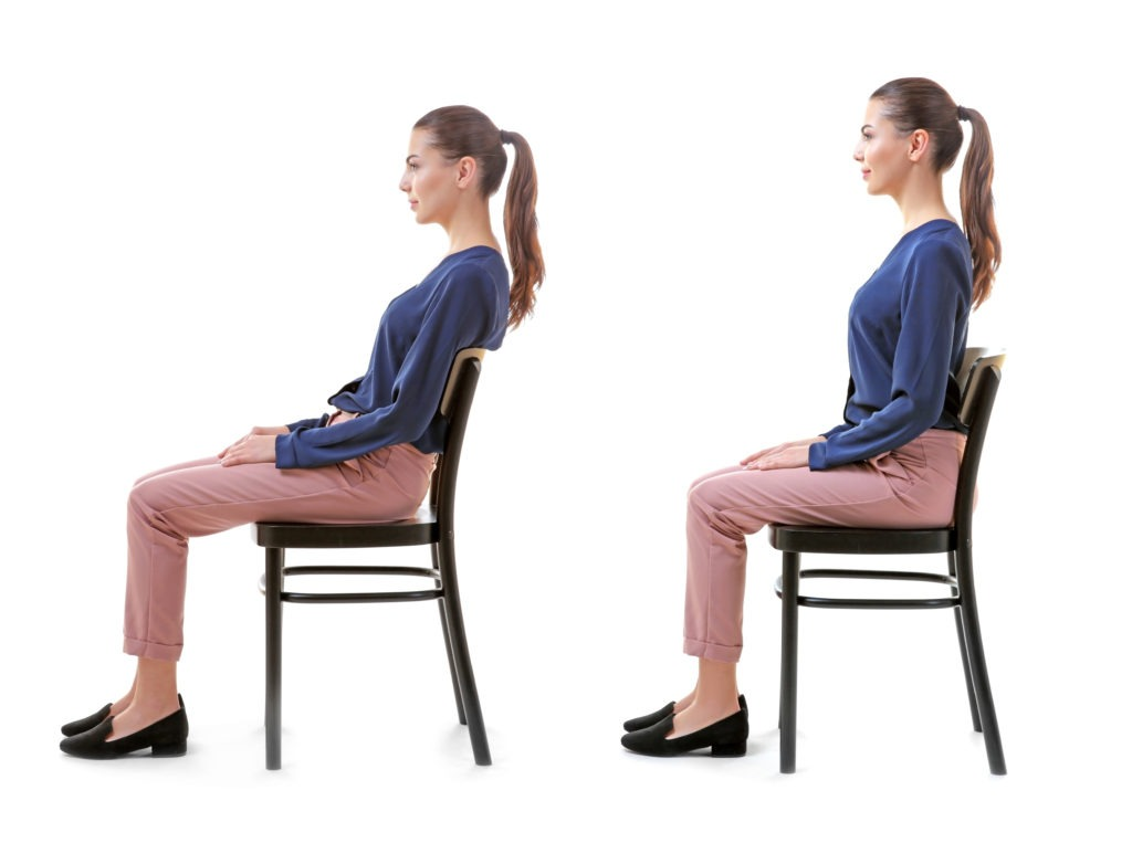 woman going from bad posture to good posturee